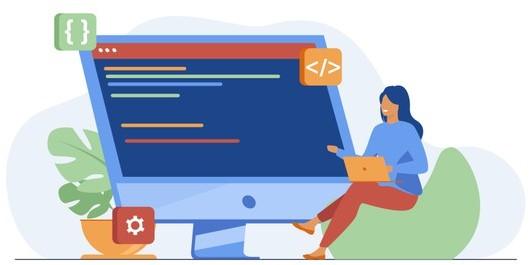 Mujer en frente del ordenador viendo código SNOMED CT