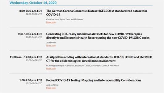 Agenda Conferencia LOINC online con participación de BITAC